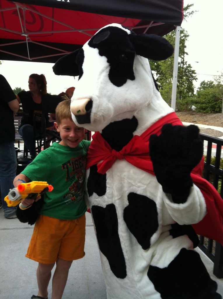 Chick-fil-A cow at family event