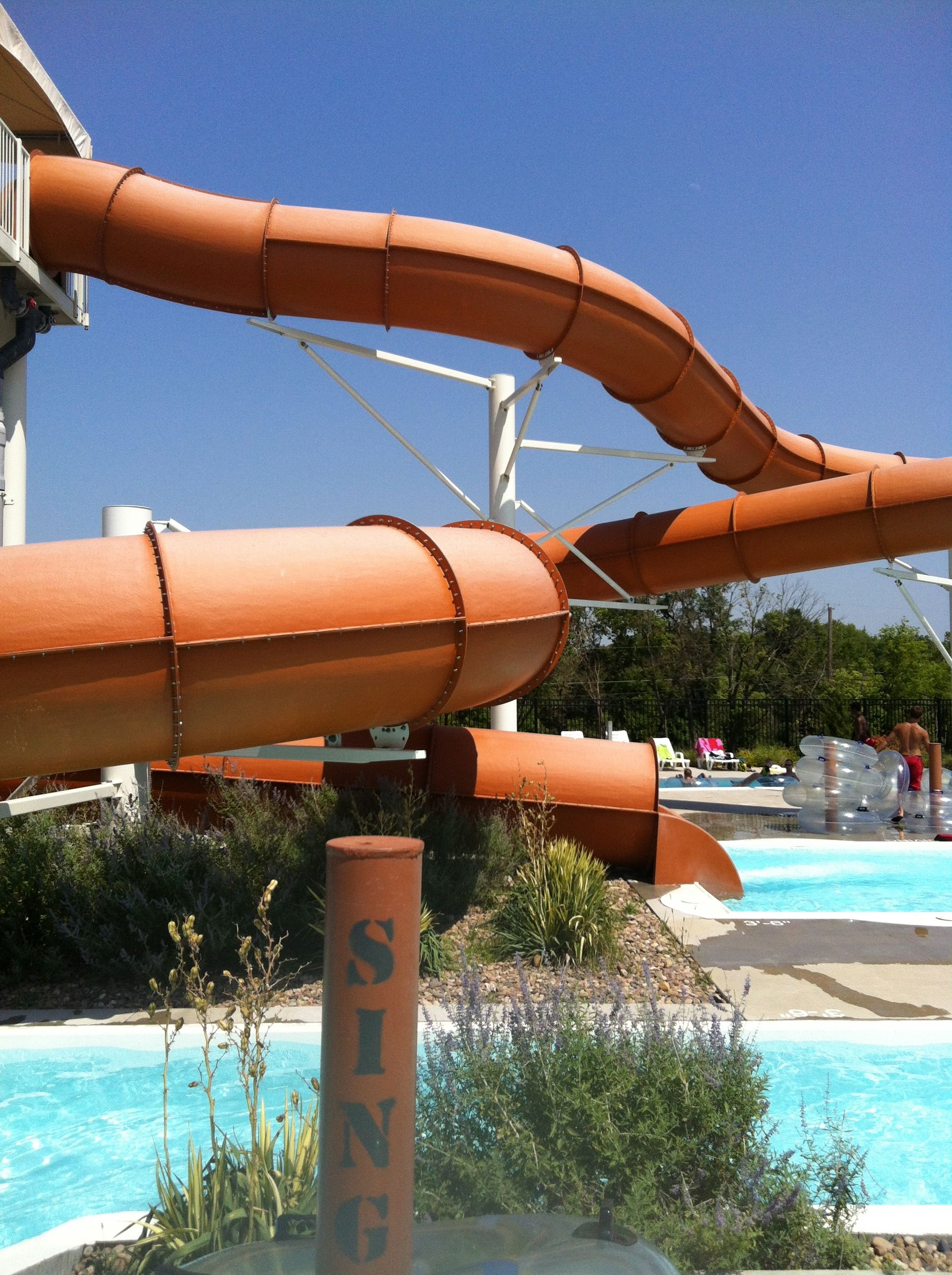 water park orange slide