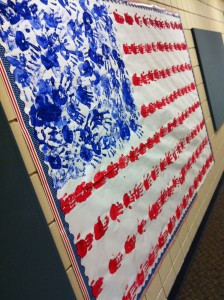 American flag of handprints